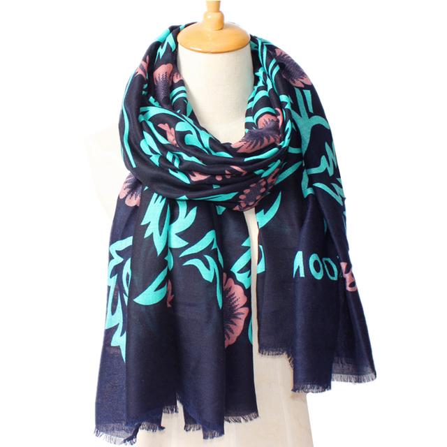 2016 Новое Прибытие Зимняя Мода Женщины Франция Марка Дизайн Улица синий цветок Печатных Шарф Большой Размер Шали