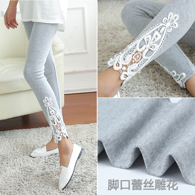 The new 2015 joker in the spring and autumn women leg Triangle side lace fashion leggings(China (Mainland))