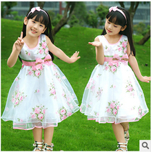 467-10Y new arrival 2016 Childrens clothing female kids child rose expansion bottom one-piece dress girl princess bow veil dress(China (Mainland))