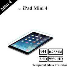 2.5D 0.25mm High Transparent Mini 4 Tempered Glass Protect Film For Apple iPad Mini 4 Screen Protectors(China (Mainland))