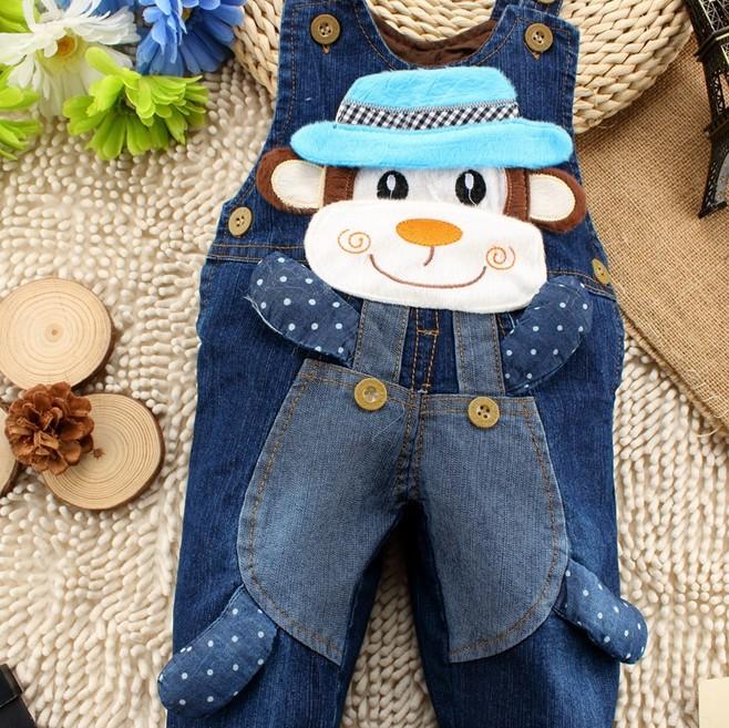 Осень дети в одежда комикс шляпа обезьяна комбинезон для мальчики-младенцы / девочки деним нагрудник комбинезон jardineira джинсы