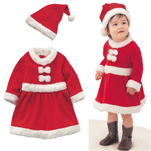 wholesale New Infant Baby Christmas Rompers Dress Long Sleeve Girls Winter Red Cute Newborn Baby Clothing  Dress and Hat Set(China (Mainland))