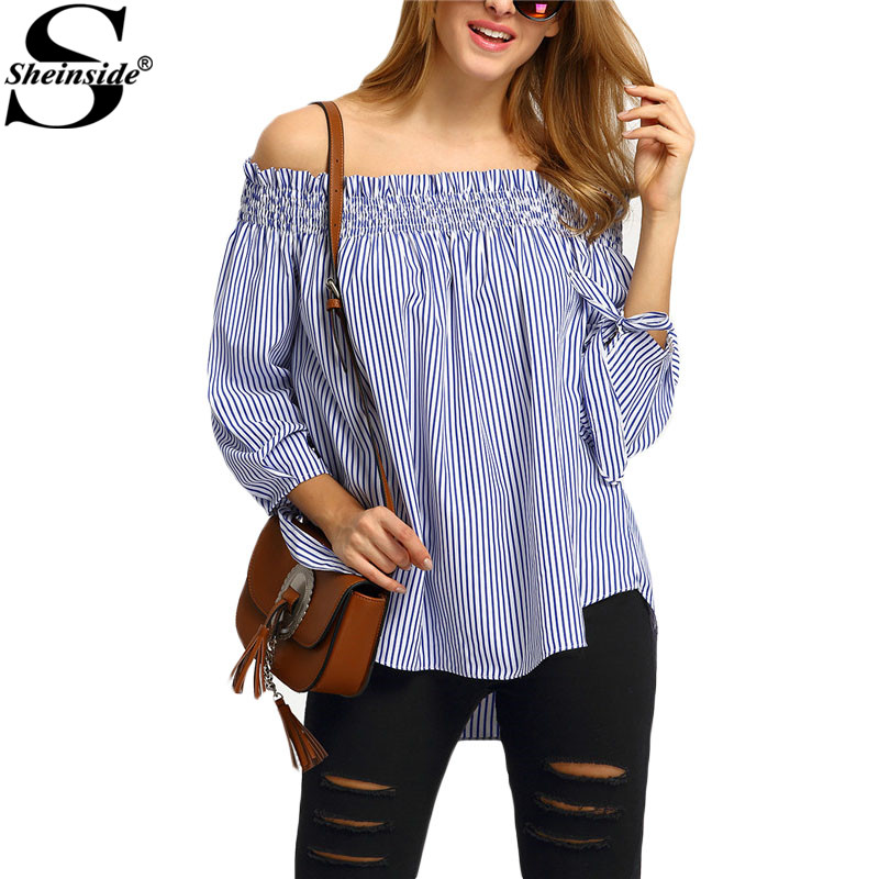Sheinside Women Off The Shoulder Tie Cuff Stripe Blouses Cute Summer Style 2016 New Women's Shirts Blue White Blouse(China (Mainland))