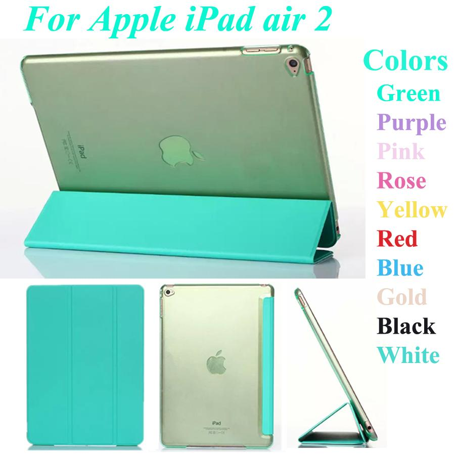 For Apple iPad air 2 Super thin Clear Clean tablet case PU Leather Stand Cover free shipping<br><br>Aliexpress