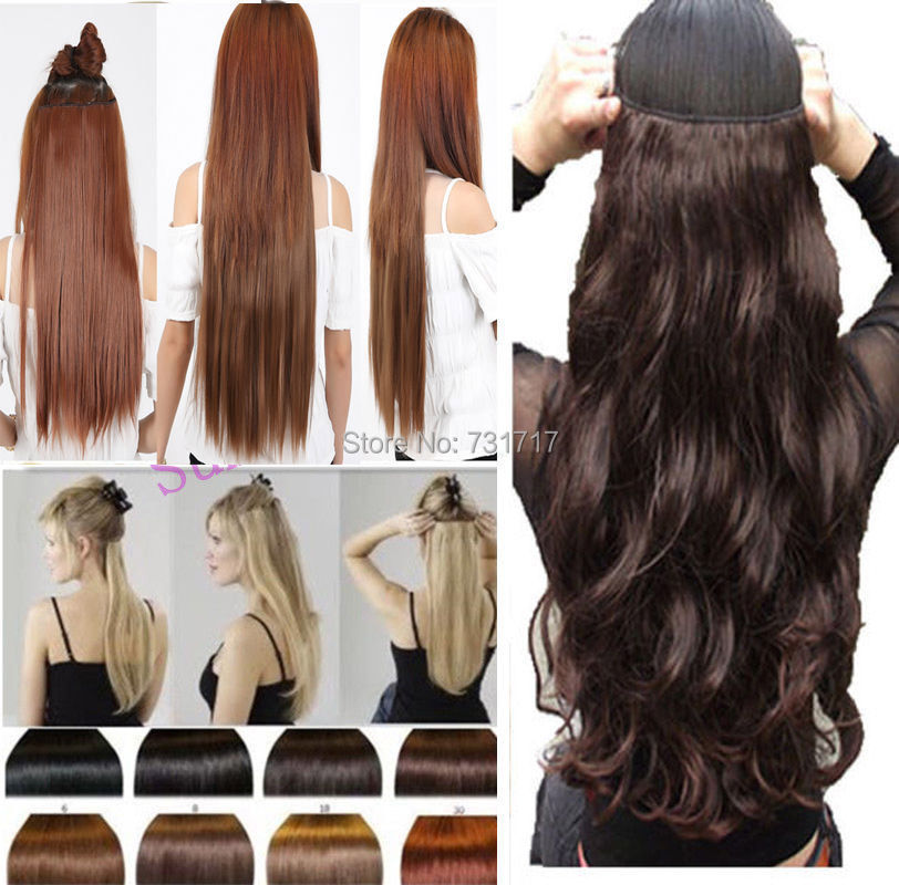 Lady One Piece 23 Inches Straight 3/4 Full Head Clip In Hair Extensions Brown Black Blonde Any Colors Shade Free Fast Delivery<br><br>Aliexpress