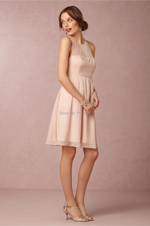 belle courte en mousseline de soie rose blush robes de