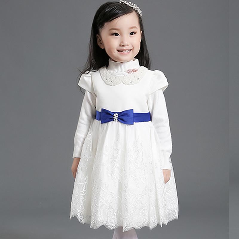 Baby Short Sleeve White Flower Lace Mesh Pageant Dress Blue Bowknot Ribbon Toodler Girls Satin Dress(China (Mainland))