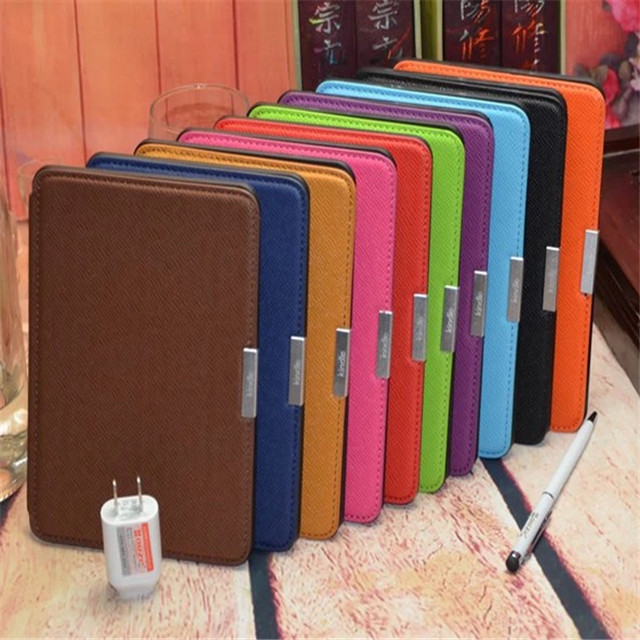 For Kindle Paperwhite 1 and 2 6 inch touch screen ereader ebook smart case Slim PU Leather Case Cover +screen protector+ stylus(China (Mainland))