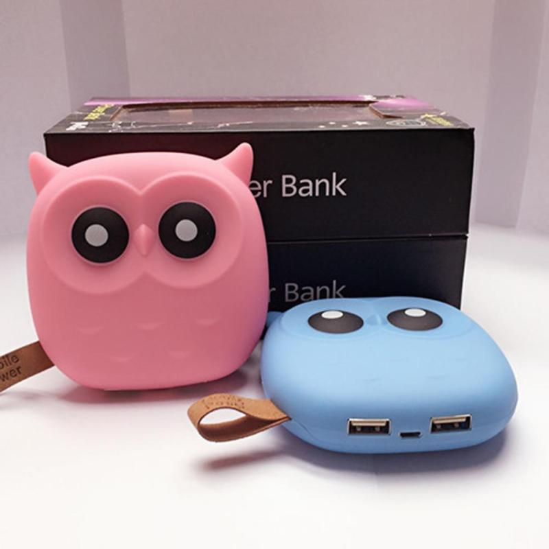 1pc Capacity 12000mAh Cute Owl Power Bank with USB External Portable Socket Gift Battery Travel Port Rechargeable universal H4