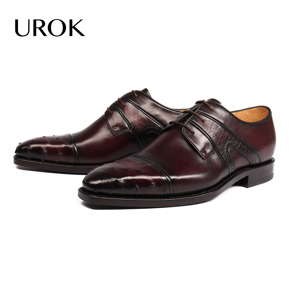 UROK Full Grain Leather Men Dress Shoes Ostrich Cap Toe Lace Up Homme Zapatillas Goodyear Luxury Business Derby Men Casual Shoes(China (Mainland))