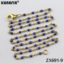10 pcs-20 pcs złoty kolor 1.5mm krzyż łańcuch z kolorami żywica naszyjnik ze stali nierdzewnej kobiety moda biżuteria ZX691DG(China)