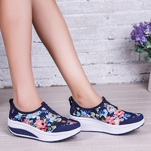 Summer new arrival 2016 canvas floral print shoes breathable female women's casual shoes platform elevator foot wrapping swing