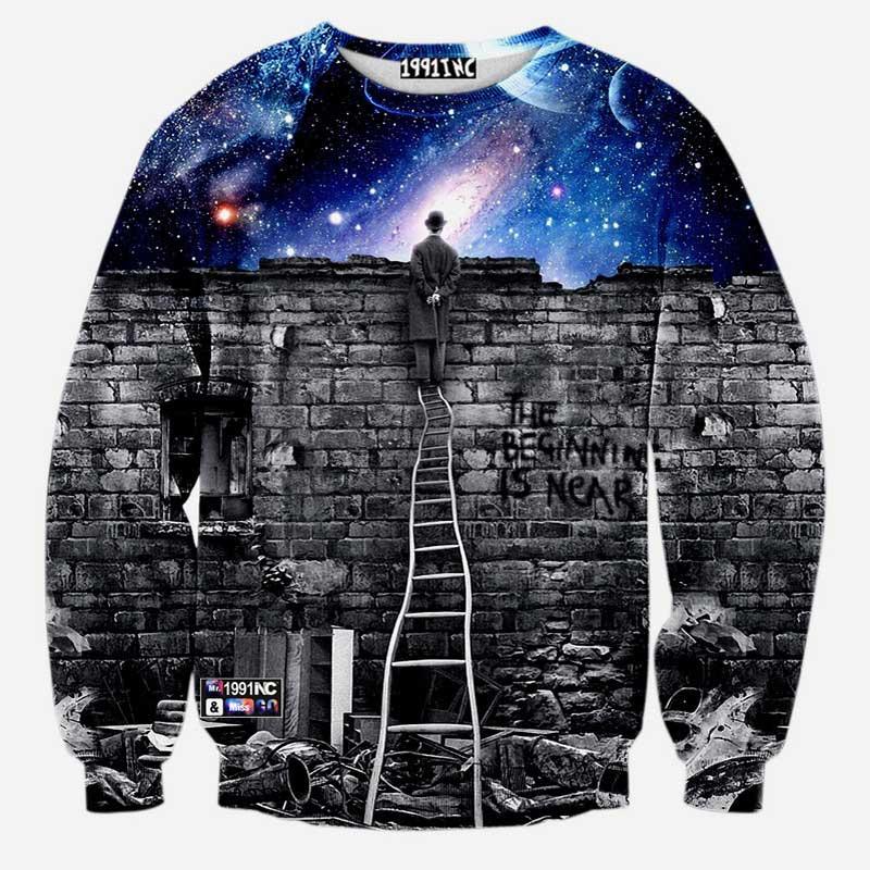 2016 New harajuku fashion Men/women's sweatshirts 3d print Chaplin A person watching space Meteor shower casual galaxy hoodies(China (Mainland))