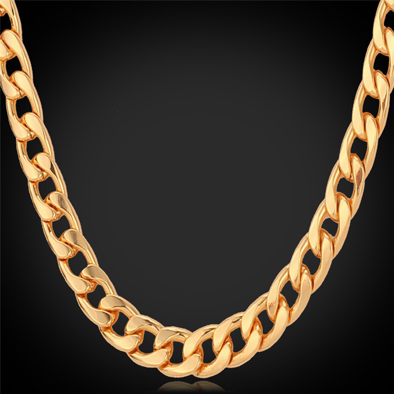 """Men Chain Necklaces 18K Real Gold Plated """"18K"""" Stamp Body Chains High Quality Jewelry 56CM Long 8MM Wide Necklace For Men N021(China (Mainland))"""