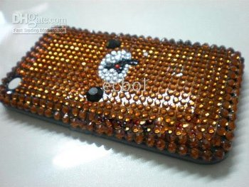 Free Shipping for iphone 3g case 100% Brand New Brown Luxurious Bling Diamond Rhinestone Back Cover Case for iphone 3GS 3pcs/lot