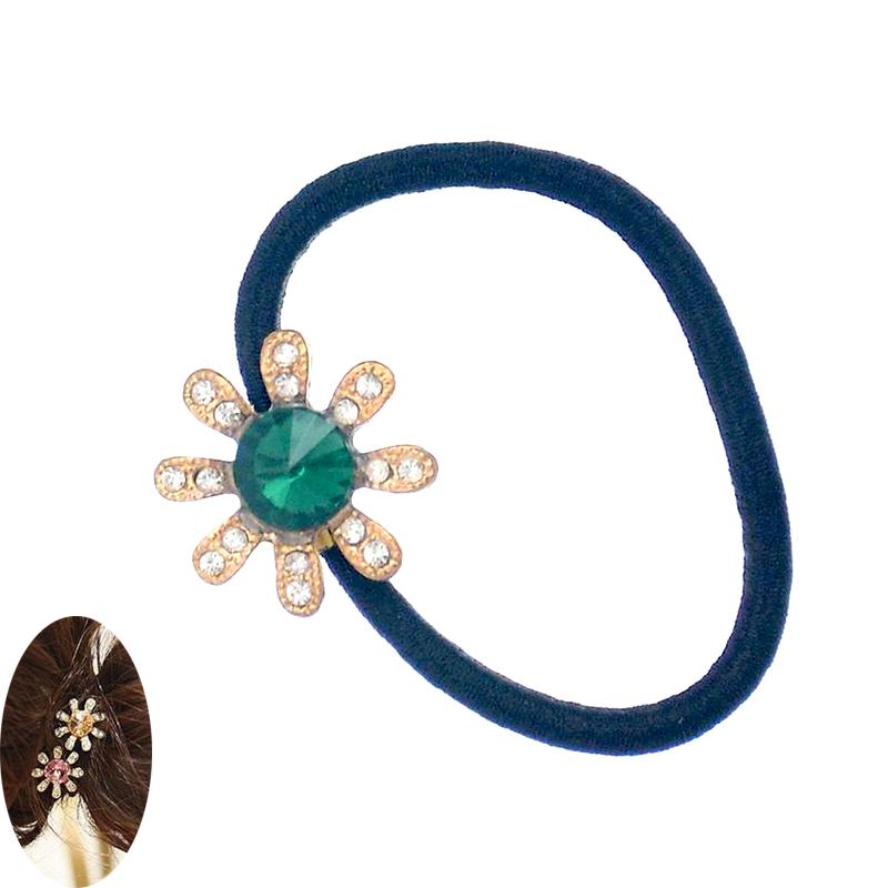 Beautiful Crystal Flower Hair Cuff Band Tie Elestic Ponytail Holder Hair Accessories Headband HF027(China (Mainland))