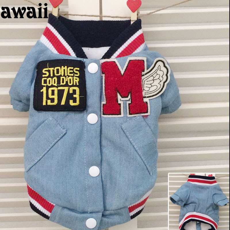 Wholesale Taiwan Pet Products Online Store High Quanlity Embroidery Fashion Small Dog Denim Jackets Winter for Chihuhua Doggie(China (Mainland))