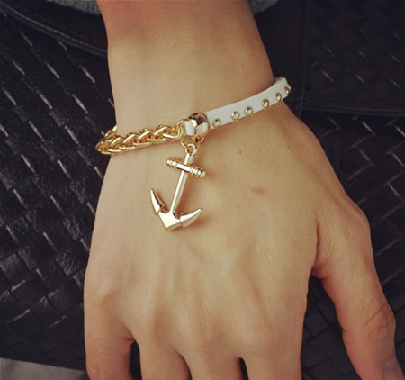 New Fashion 18K gold filled leather rope chain anchor charm bracelets Valentine's Day gift women B3217 - just do my best store