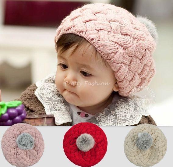 Children Warm Winter Rabbit Fur Ball Child Hat Crochet Girls Boys Hat Gift 3Colors(China (Mainland))