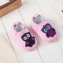 New spring and summer cute light pink baby girls lovely owl shoes bow slip-on frist walker cotton soft bottom prewalker shoes