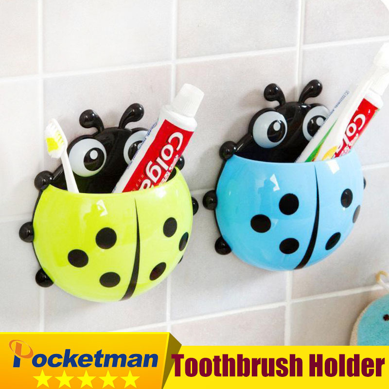 Lovely Ladybug Toothbrush Wall Suction Bathroom Sets Cartoon Sucker Toothbrush Holder / Suction Hooks ZK85(China (Mainland))