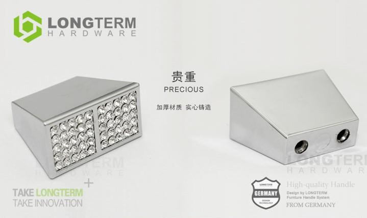 10Pcs C.C:16 mm Clear Crystal Handle With Zinc Alloy Chrome Metal Part<br><br>Aliexpress