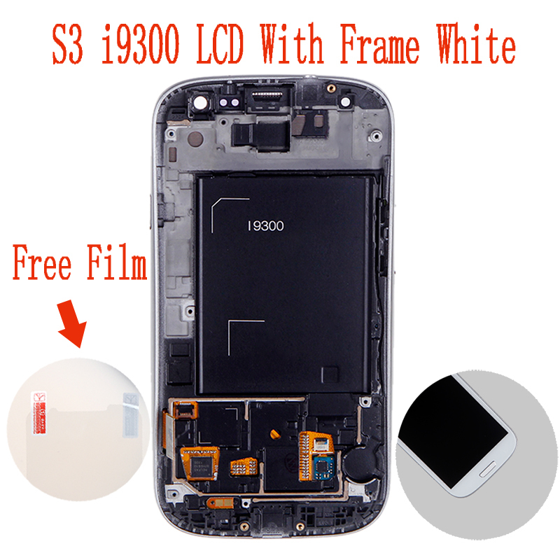 Free Shipping Display for Samsung Galaxy S3 III i9300 LCD with Touhch screen Digitizer With Frame Display Assembly White Color(China (Mainland))