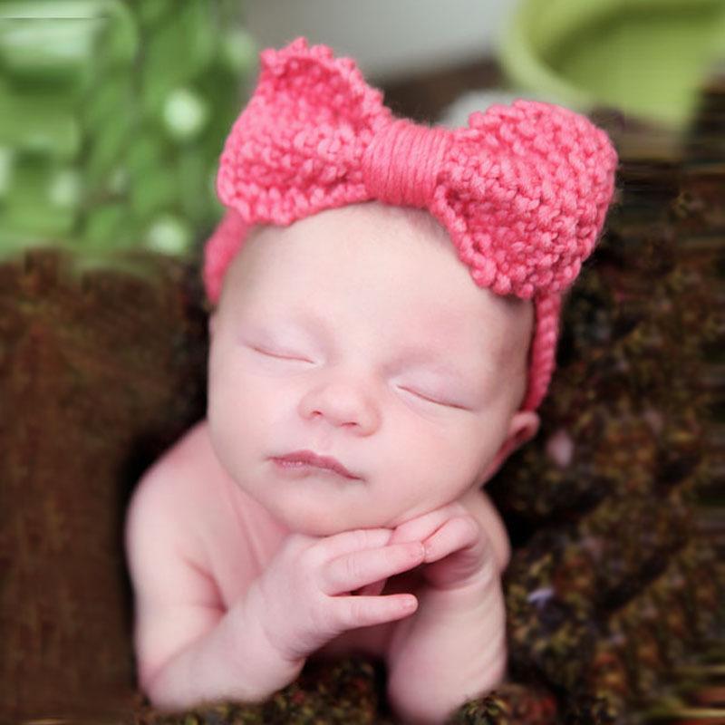 Cute Baby Crochet Headband Infant Girls Hair Accessories Ear Warmers Newborn Knit Woolen Head Wrap Baby Turban Headband HB023(China (Mainland))