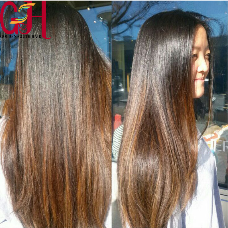 Two tone #1bT#30 ombre full lace wig for black women straight yaki human hair wigs with middle parts &amp;baby hair 130-150 density<br><br>Aliexpress