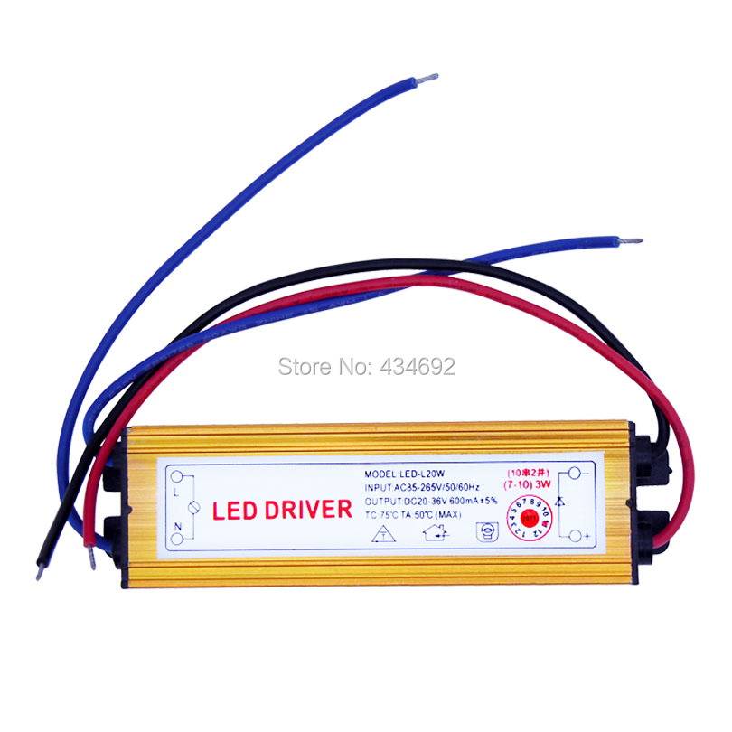 2PCS/Lot (7-10) X 3W LED Driver for 3W LED Light Lamp IP67 Waterproof DC20~36V 600mA Driver Free Shipping(China (Mainland))