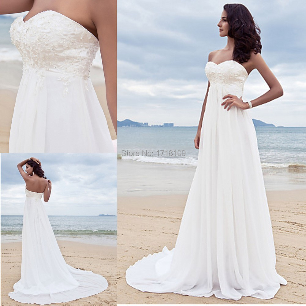 Free shipping new sweetheart beach wedding dress bridal for Off the shoulder beach wedding dresses
