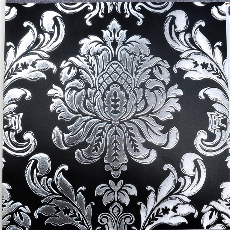 Black and silver wallpaper 3d damask gold foil wall mural for Black white damask wallpaper mural