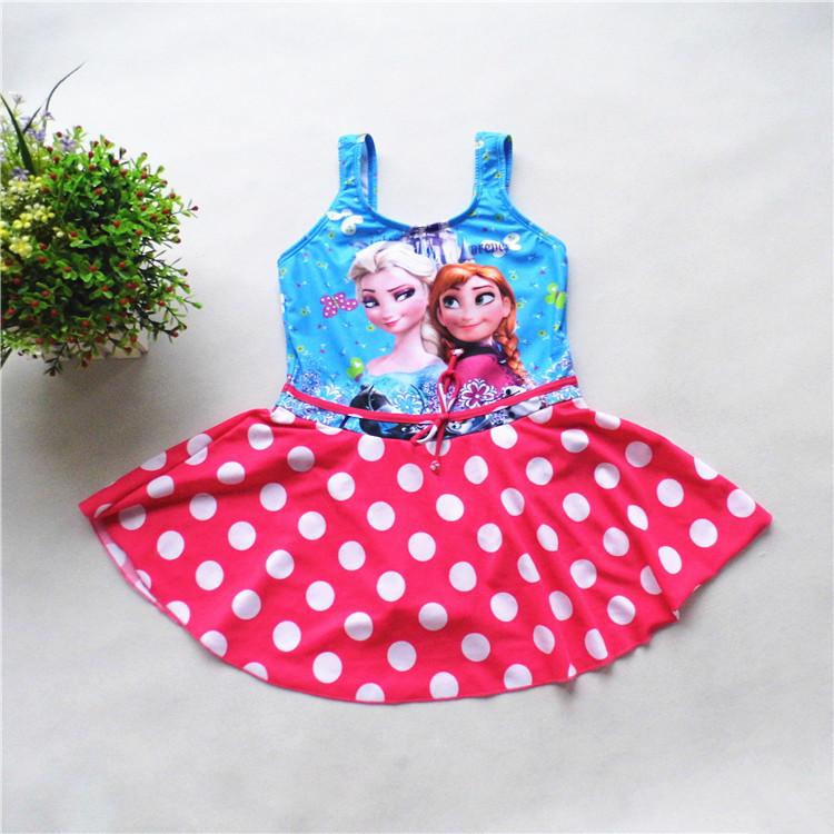 Free Shipping 5pcs Wholesale Children Girls Swimsuit Bikini Wear Baby Girls Kid Swimwear Swimming Beach One Piece Anna Elsa 3810<br><br>Aliexpress