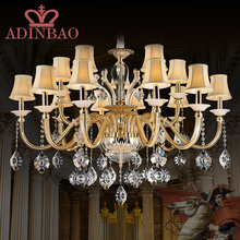 Modern crystal chandelier Led chandelier with 15 Glass Arm Fabric Lamp Shade 8517-10+5(China (Mainland))