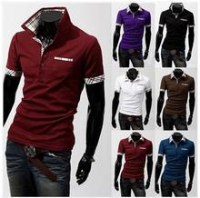 2015 mens fashion brand short sleeve t shirts for men casual clothes Staggered grid collar sports