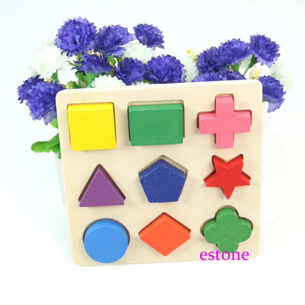 Free Shipping Developmental Toy Baby Wooden Bricks Geometric Colorful 9 Shapes Puzzle 1Set 3D<br><br>Aliexpress