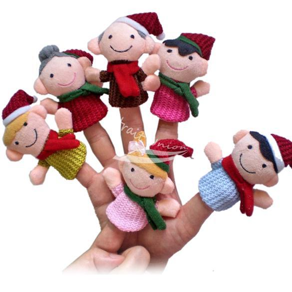 6Pcs Happy Family Soft Plush Puppet Finger Toys Educational Story-telling Toy For Children(China (Mainland))