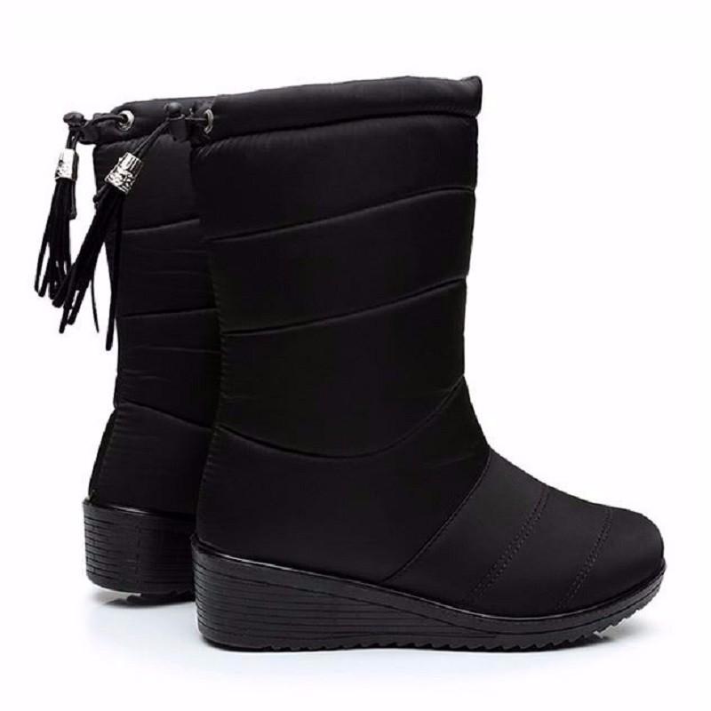 ซื้อ ฤดูหนาวผู้หญิงบู๊ทส์หญิงกันน้ำรองเท้าข้อเท้าพู่ลงรองเท้าหิมะรองเท้าสุภาพสตรีผู้หญิงที่อบอุ่นขนBotas Mujerวงยืดหยุ่น