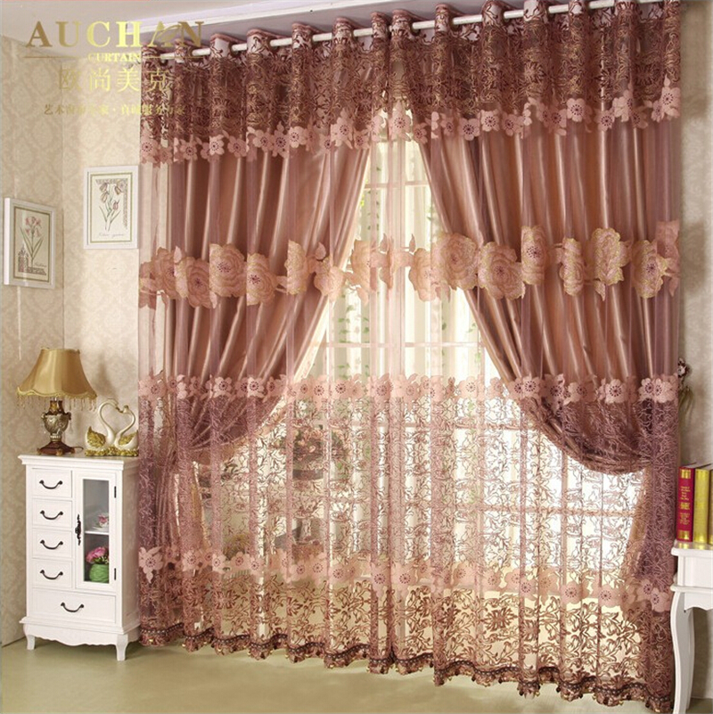 Wealthy livingroom curtain of peonies premium cut flowers yarn curtains shade cloth drapes curtains bedroom curtain(China (Mainland))