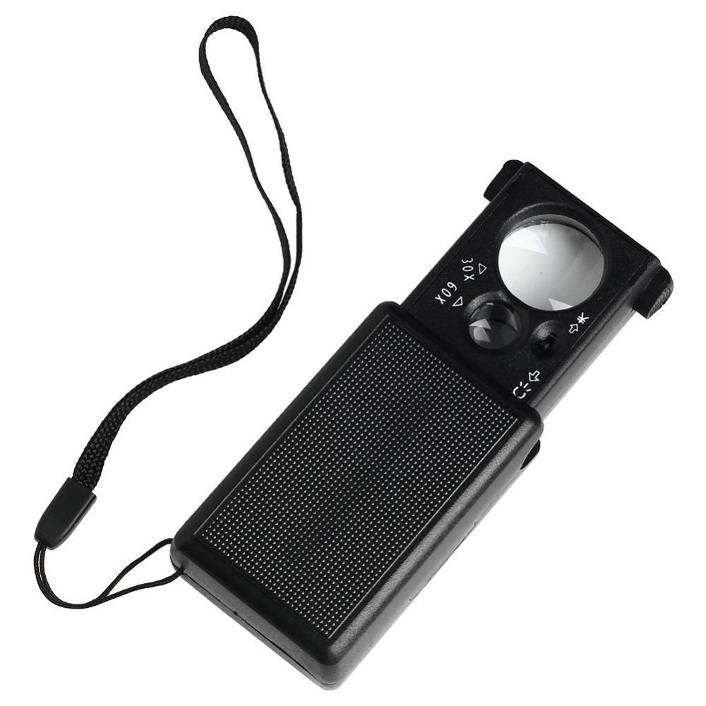 JKLONG 30X/60X Magnifier Magnifying Glass Eye Loupe Lens LED Pocket Jeweller Microscope<br><br>Aliexpress