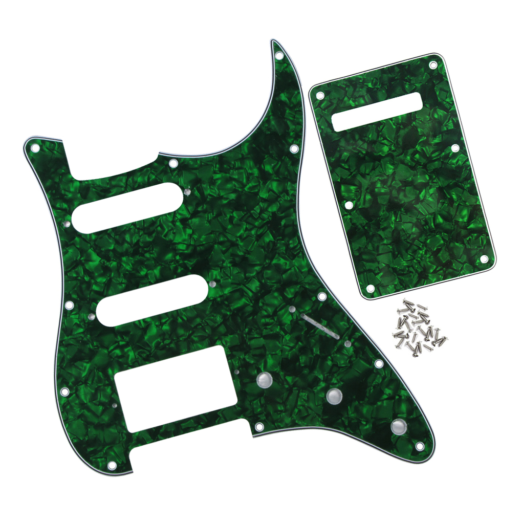 4Ply 11 Holes Electric Guitar Pickguard Strat SSH 4Ply / Back Plate w/Screws fit Standard American/Mexican FD ST ,Green Pearl(China (Mainland))