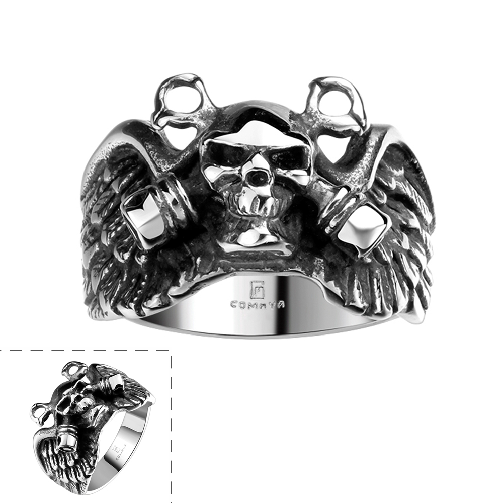 US Size 8/9/10/11 1 PC Skull Fashion Hot Sale Men's Punk 316L Stainless Steel Ring Bar Party Jewelry(China (Mainland))