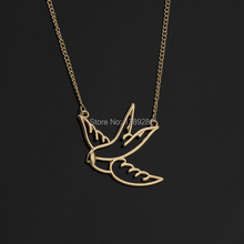 2015 Fashion 18K Gold Plated GP Gold Jewelry Cute Swallow Short Choker Necklace gift for Girls