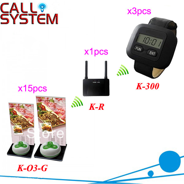 NEW!! Waiter Call System for restaurant service; with waterproof button with menu holder, watch receiver and signal enhancer