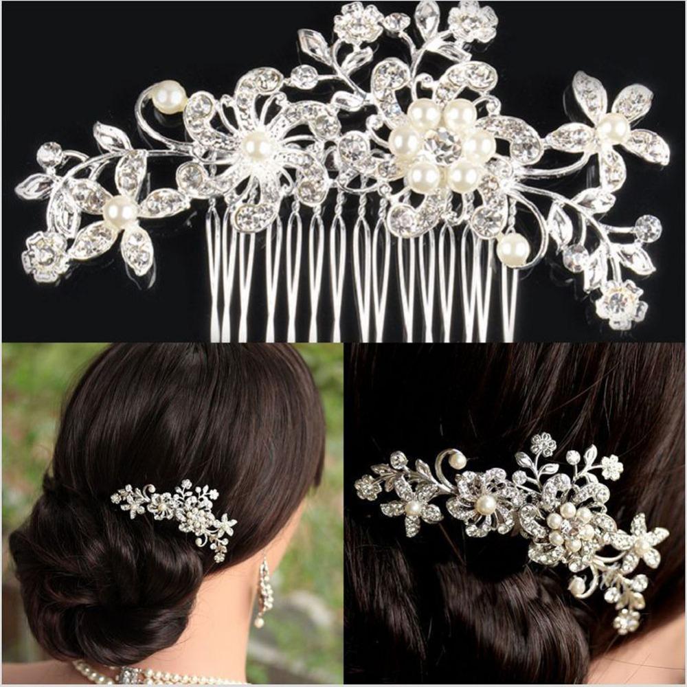 Гаджет  Bridal Wedding Flower Crystal Rhinestone Hair Clip Comb Pin Diamante Silver No Shipping Fee K5BO None Ювелирные изделия и часы