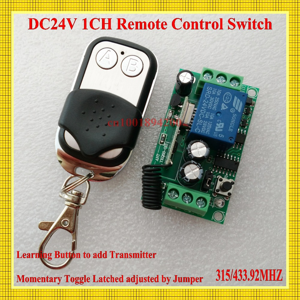 DC 24V 10A Relay Remote Control Switch Power Remote ON OFF RF Wireless Switch ASK Learning Code Receiver 315/433 Smart Home RXTX<br><br>Aliexpress