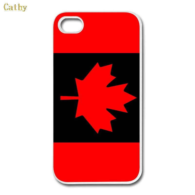 Red and black maple leaf of Canada flag hard plastic custom printing phone case cover for iphone 4 4s 5 5s 6 6 plus(China (Mainland))
