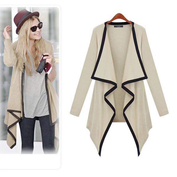S-L 3 sizes Knitted Long Cardigan Women 2015 Fashion New Leisure Irregular Collar Sleeve Jacket Sweater Women knitwear