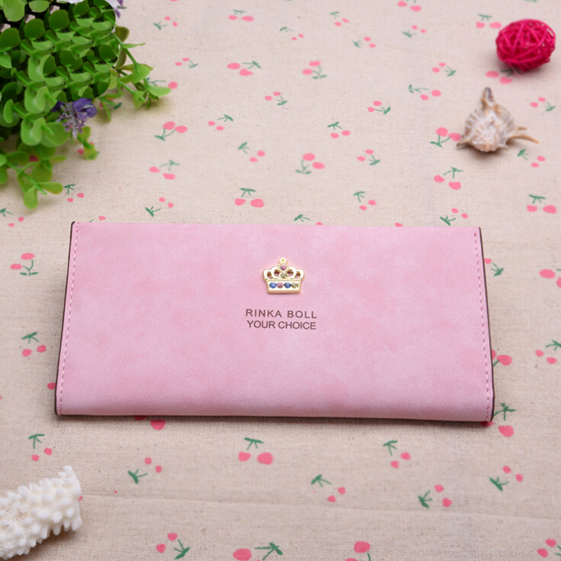 2015 new Ms. wallet long section of the Korean version of the original matte thin crown wallet card package(China (Mainland))