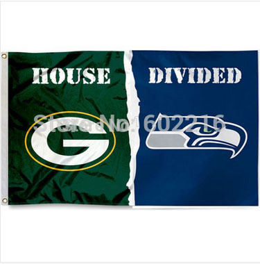 Green Bay Packers Seattle Seahawks helmets House Divided Flag Banner 3ft x 5ft(China (Mainland))